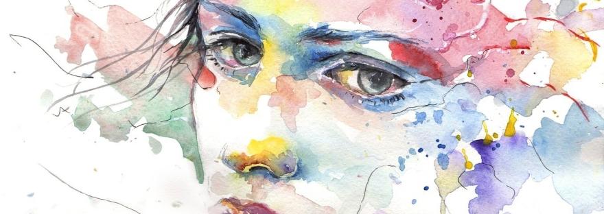 sad face in watercolor